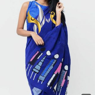 Pure mul mul cotton sarees with blouse  indigo Handblock printed