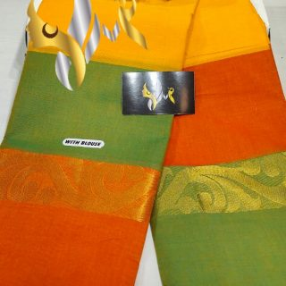 chettinaad cotton saree with running  blouse