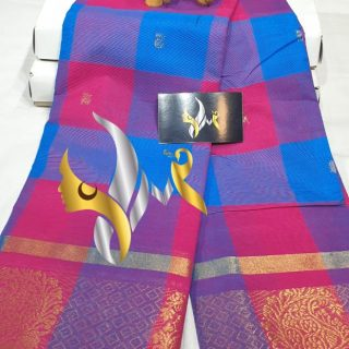 Chettinaad cotton saree without blouse checked  pattern